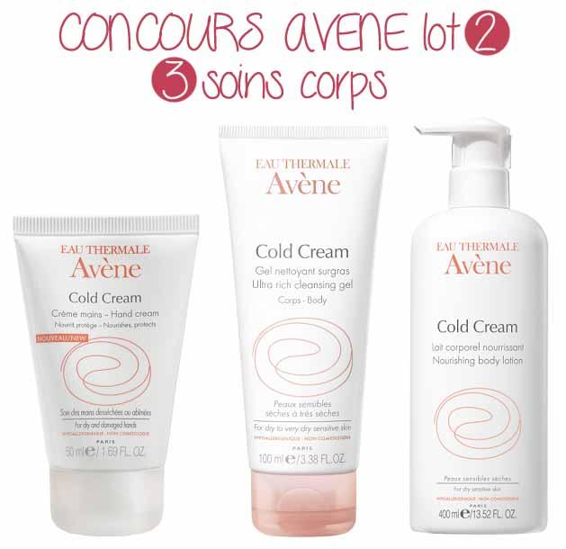 concours-avene-cold-cream-creme-mains-lait-corporel-gel-nettoyant-surgras